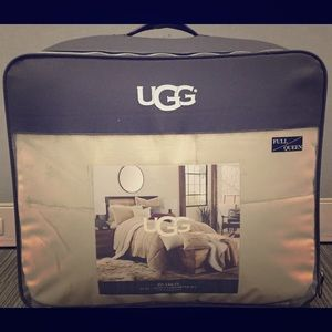 Ugg bedspread pillowcases and white fur throw
